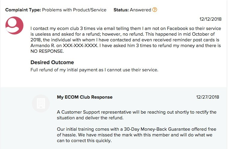 My Ecom Club complaint