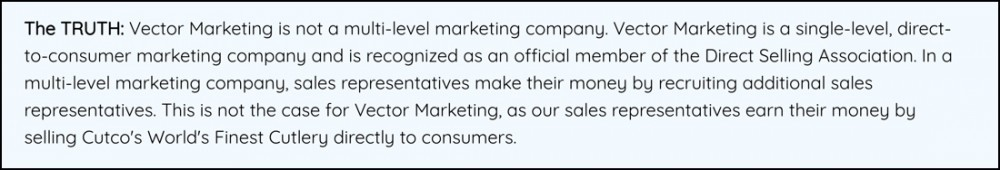 Is Vector Marketing an MLM? They say no.