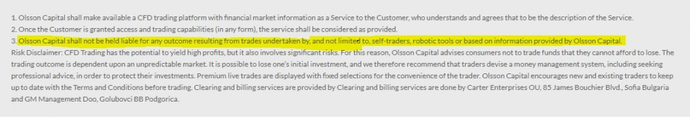 Olsson Capital disclaimer