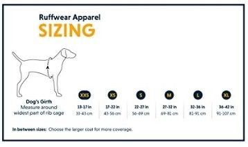 Ruffwear Lightweight Cooling Vest Sizes