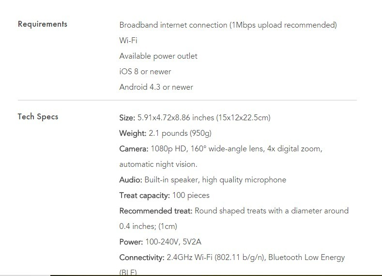 Furbo Tech Specs