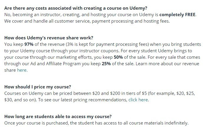 Udemy price structure is fairly straightforward