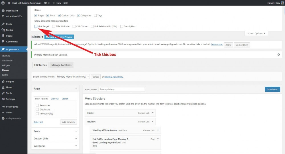 Finding and ticking the Link Target option for WordPress Custom Menus