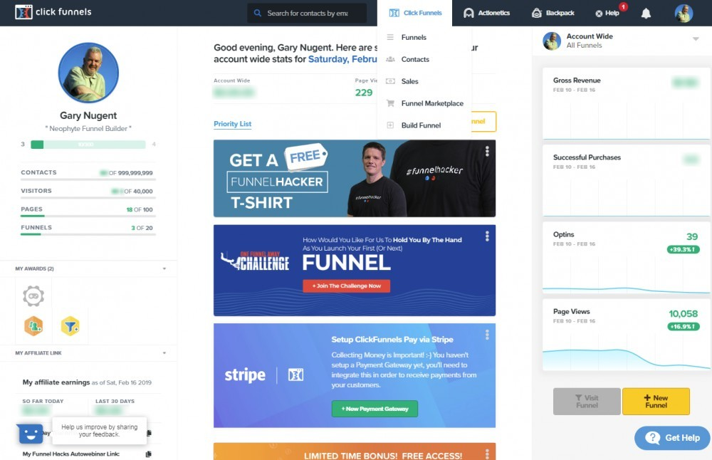 The Clickfunnels Dashboard