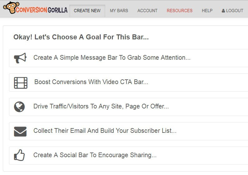 Types of Attention Bar in Conversion Gorilla