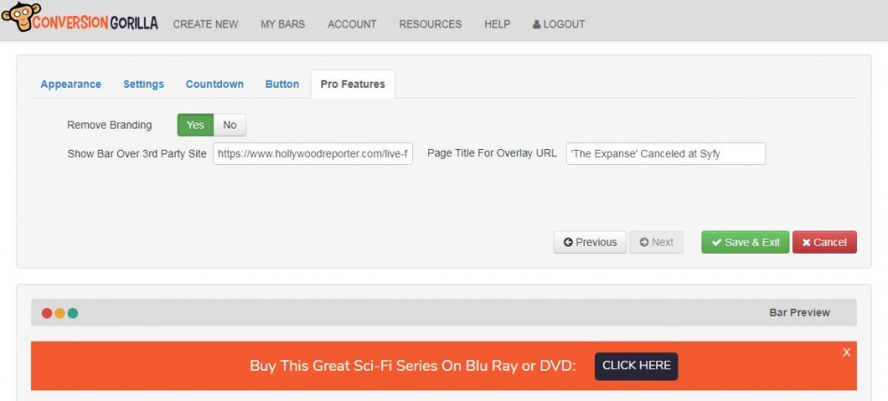 The Pro Features Tab in Conversion Gorilla