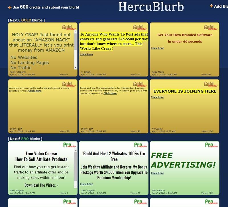 HercuBlurb Ads