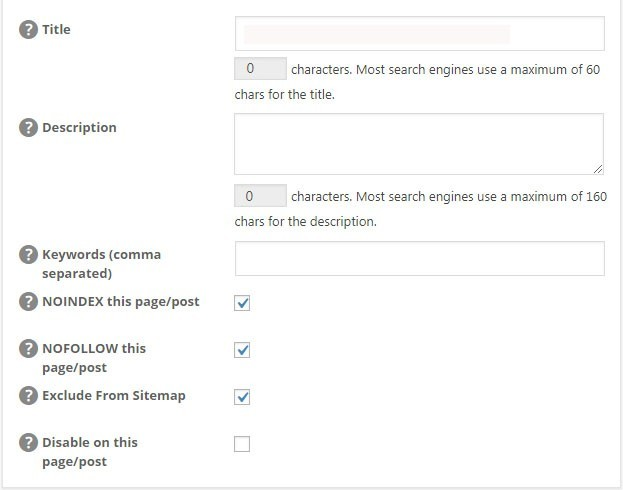 Tick These All In One SEO Options
