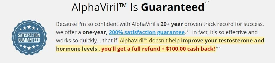 alphaviril testosterone booster guarantee