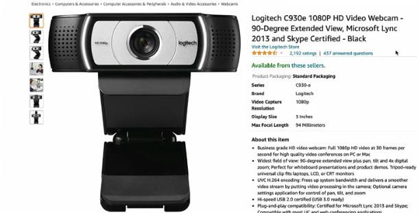 logitech C930e 1080PH HD video webcam