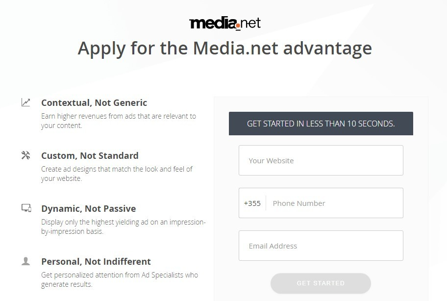 media.net sign up