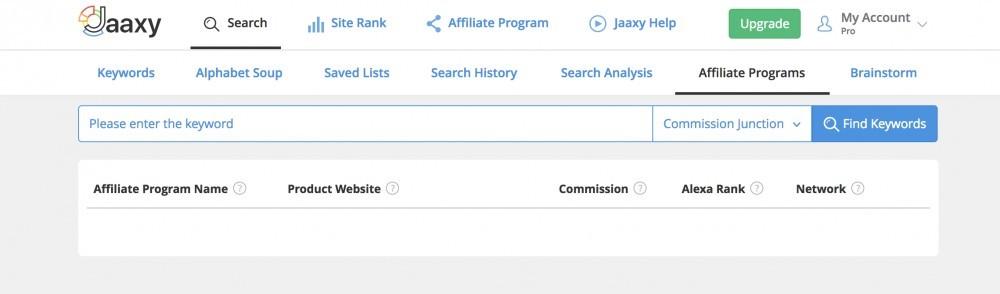 Jaaxy Affiliate Program Search