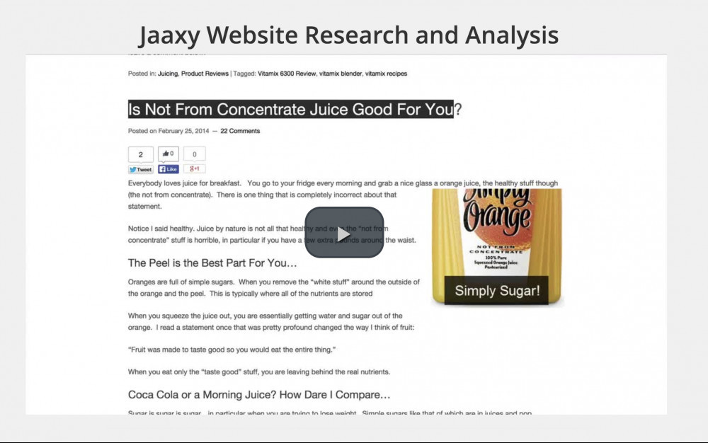 jaaxy training video - website research and analysis