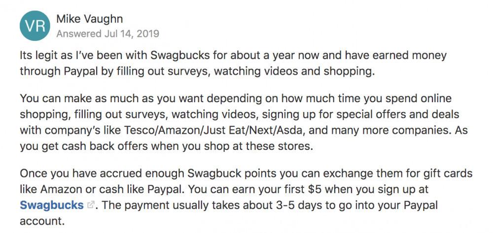 Swagbucks reviews on quora