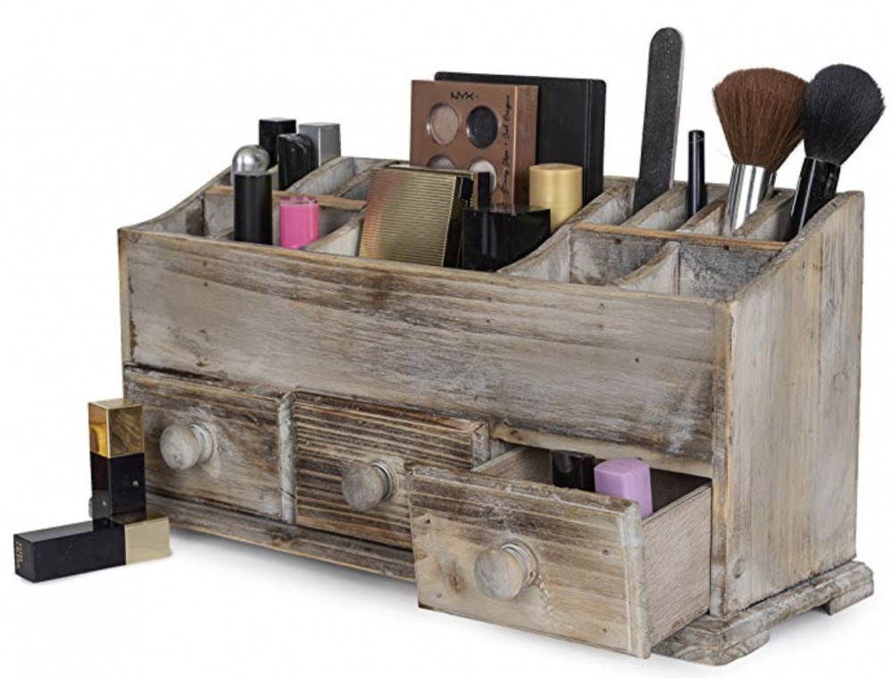 Rustic Decor - Stressed Wood Makeup Organizer