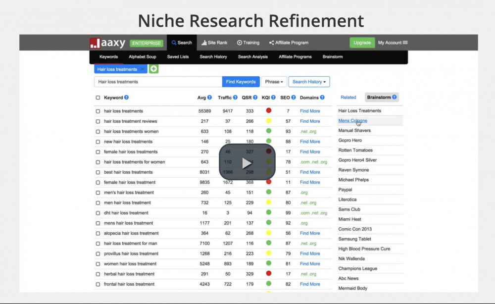 jaaxy training video - niche research refinement