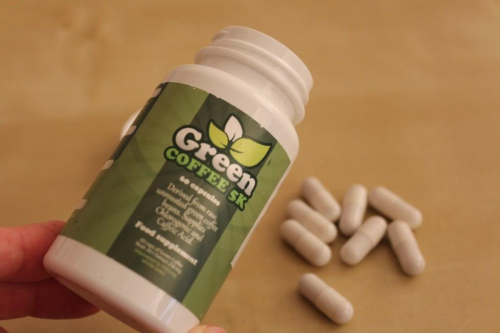 green coffee 5k bottle and pills