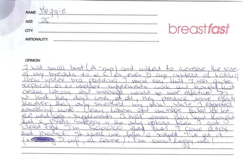 Breast Fast Pills Testimonial