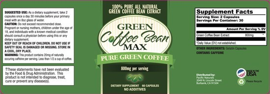 Green Coffee Bean Max Label
