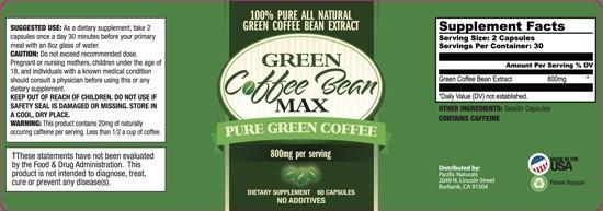 Green Coffee Bean Max Label