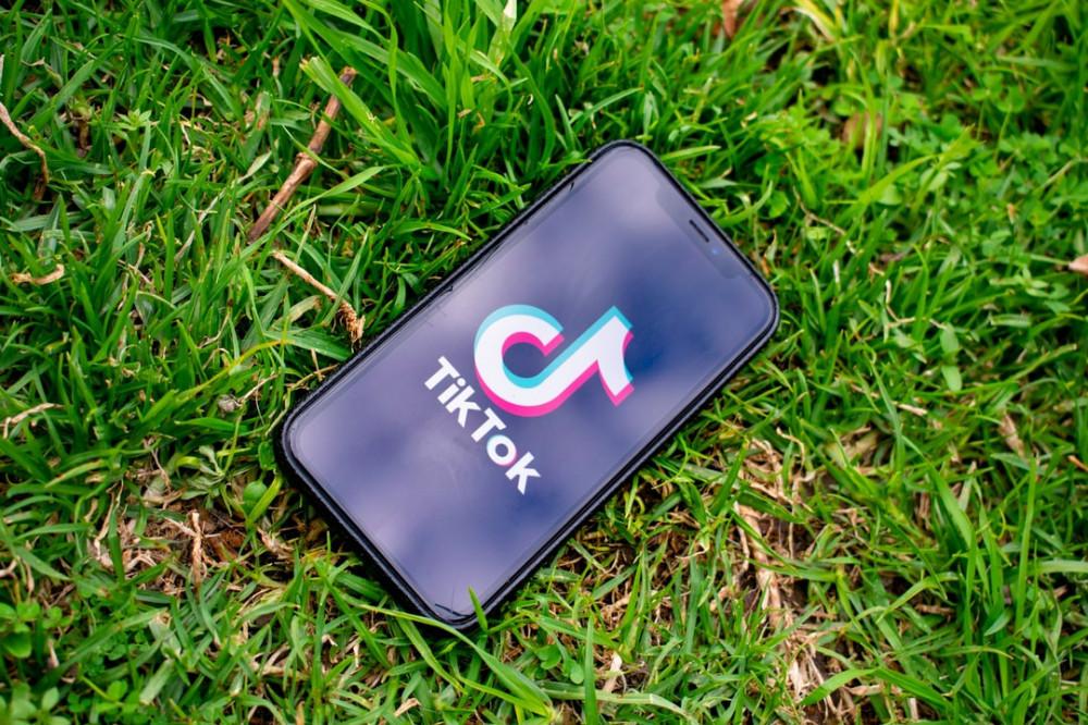 tik tok on mobile on the grass