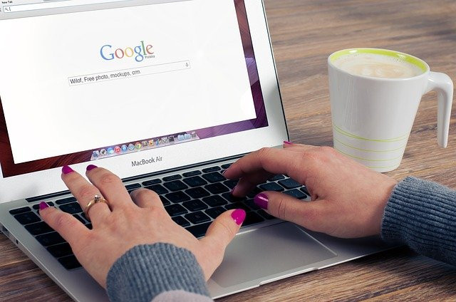 a woman searching on google