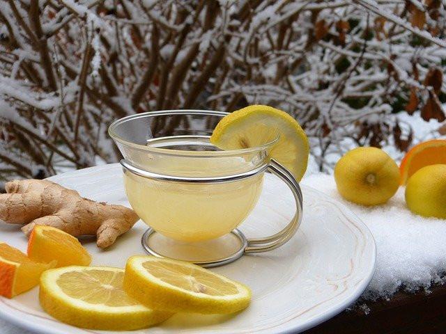 ginger tea, lemons and oranges