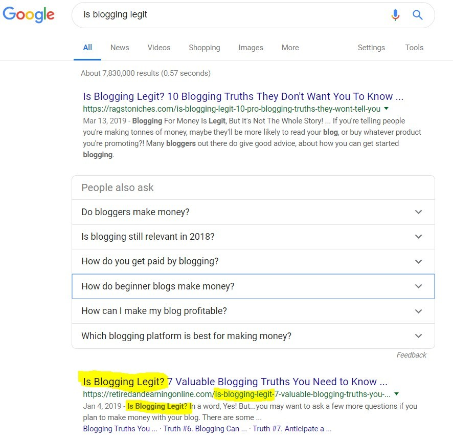 Search Engine Results - Is Blogging Legit