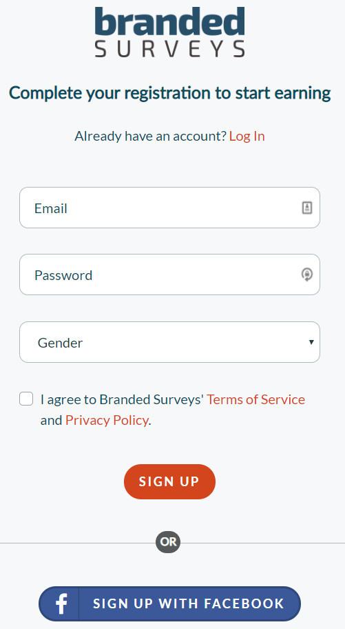 Branded Surveys Sign-up