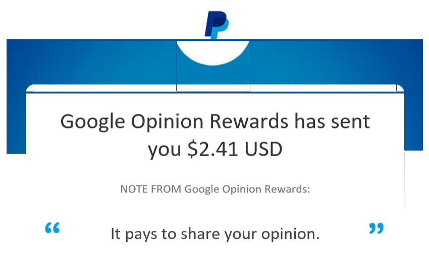 Google Opinion Rewards Proof of Payment