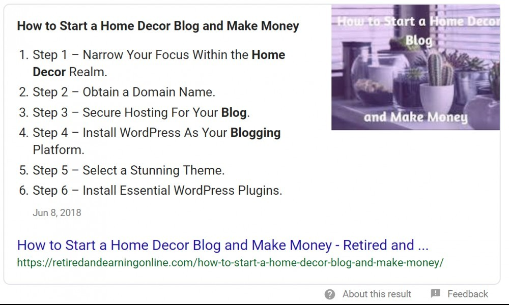 Featured Snippet - How to Start a Home Decor Blog