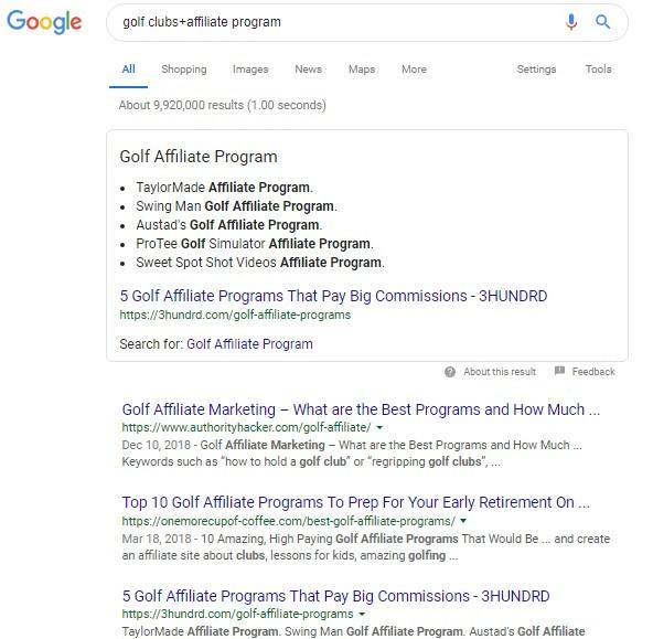 Golf Affiliate Program Search