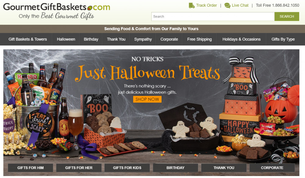 Gourmet Gift Baskets Website header