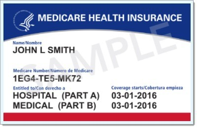 Sample of the new Medicare benefit card with Medicare number.