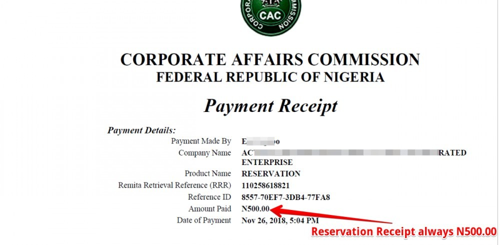 CAC Resercation Receipt