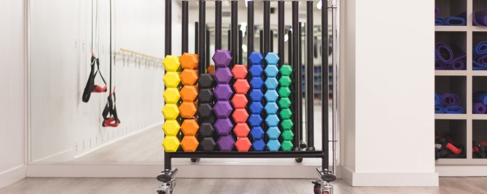 how to buy a home gym, dumbells on a rack