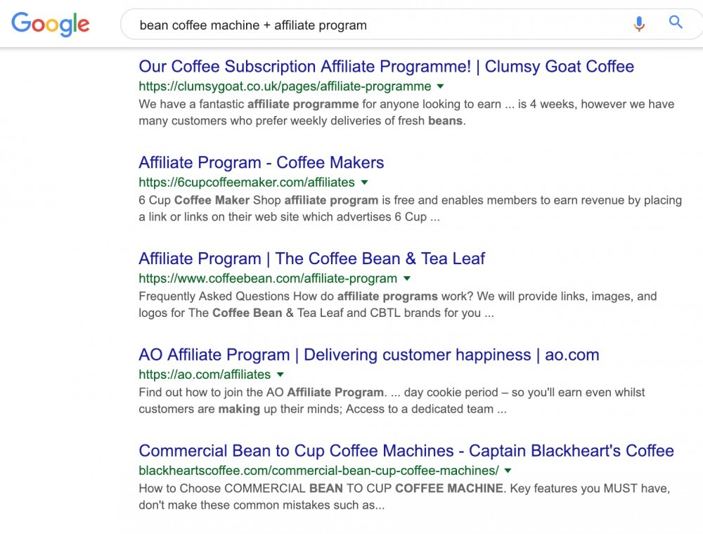 Coffee Machine + Affiliate Programs Google Search