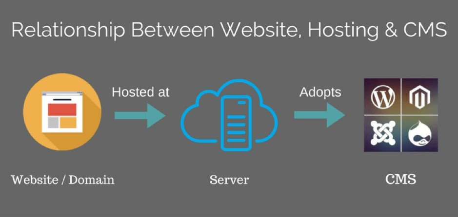 Describes the relationship between website, hosting and a CMS