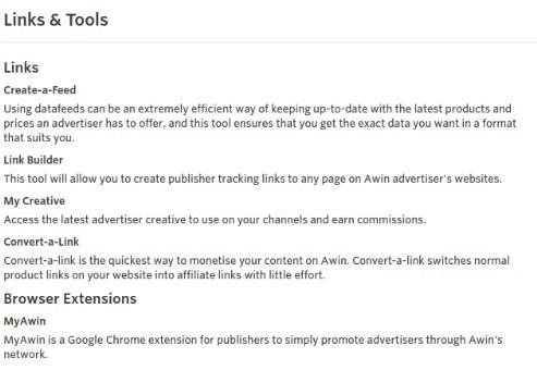 Links & Tools - Awin