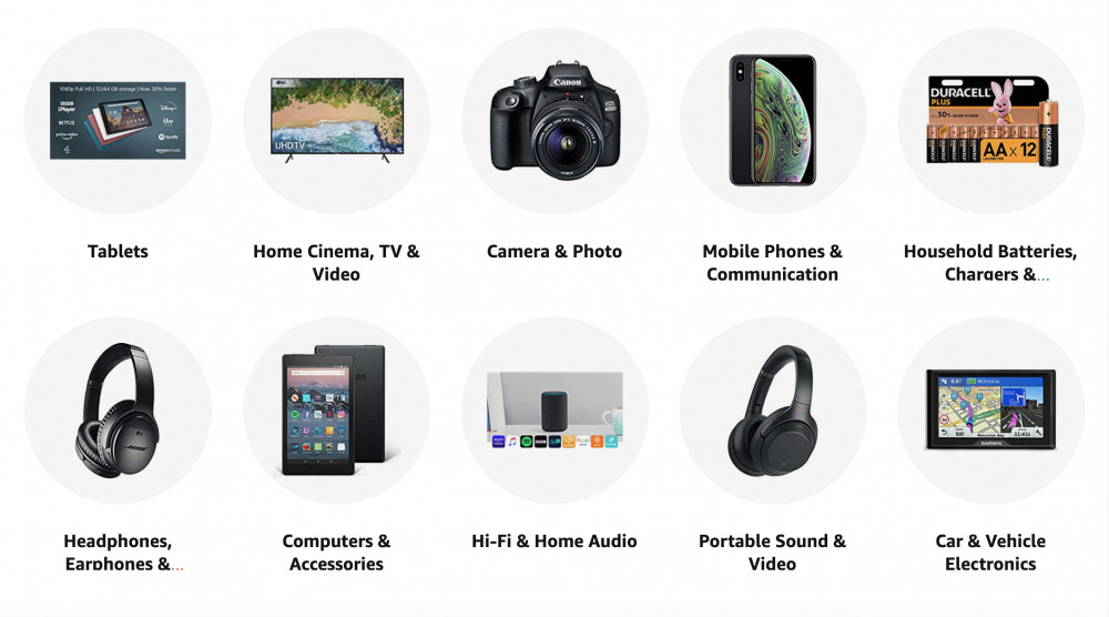 amazon categories for electronics