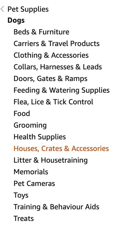 Pet Supply Sub Category on Amazon