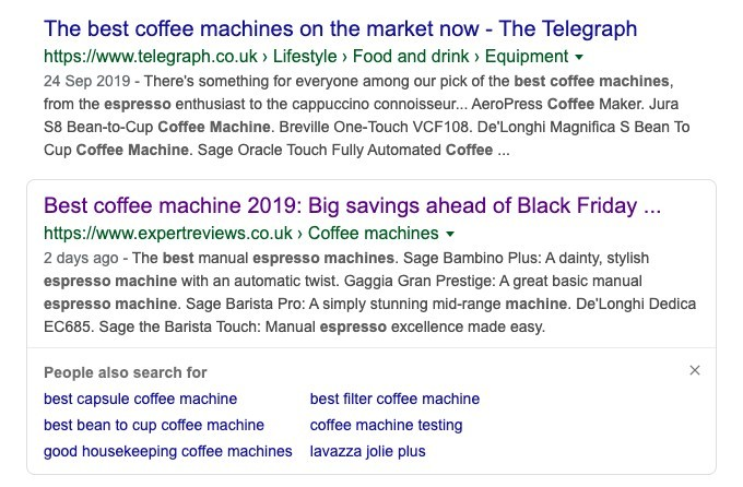 a screenshot of a google search for best coffee machine to help explain the premise