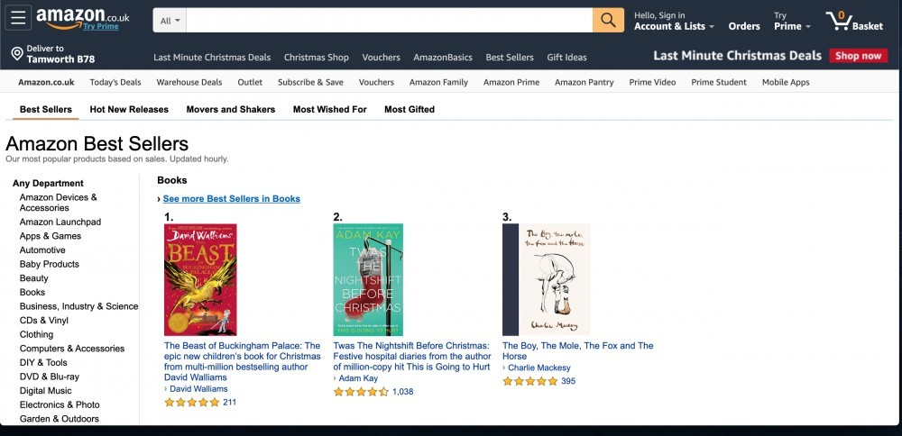 amazon best sellers screen