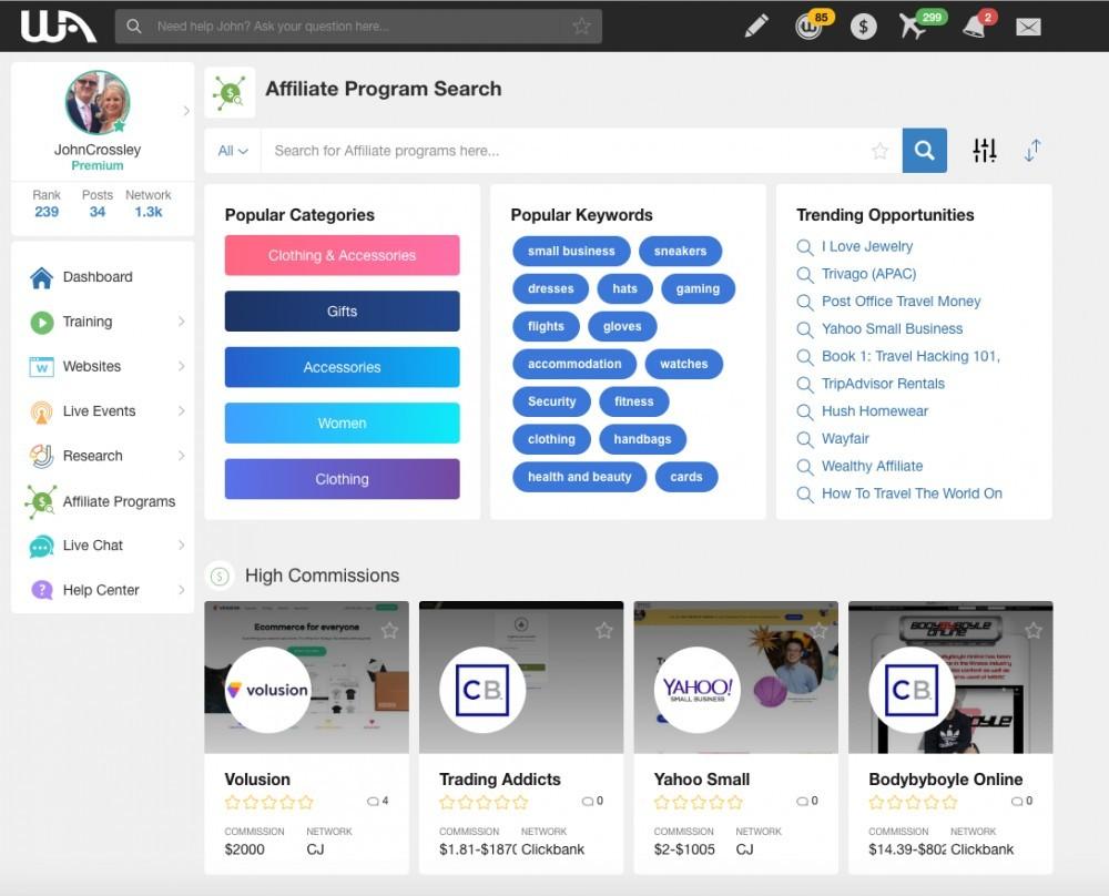 Wealthy Affiliate Affiliate Program Platform