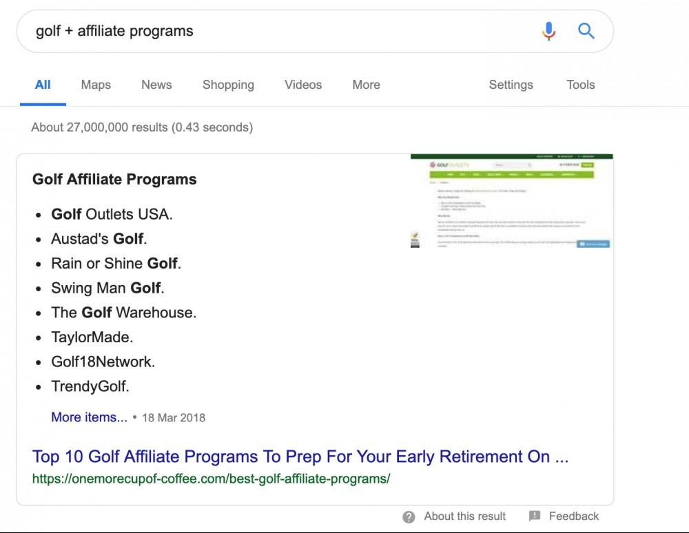 Affiliate Program Examples through Google