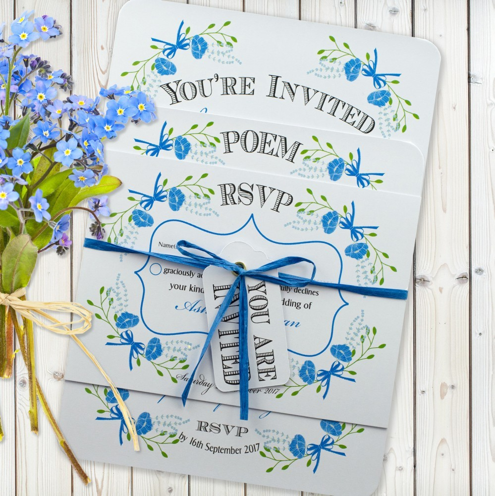 Floral Fantasy Blue 3 Card Set