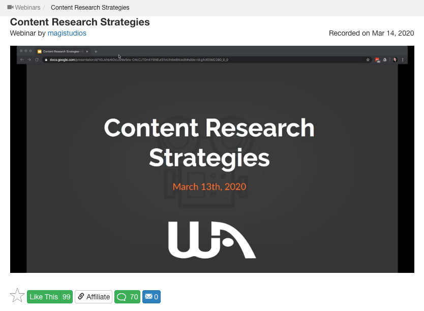 WA Webinar - Content Research Strategies