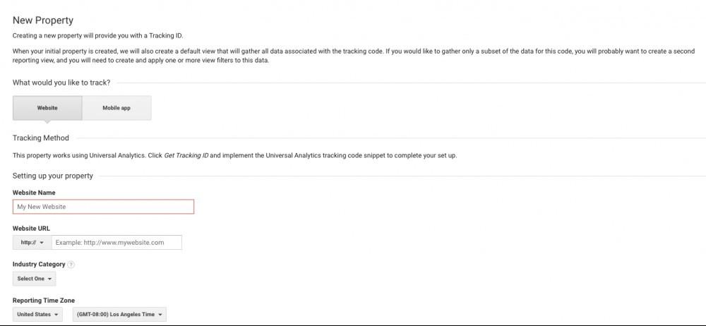 Google Analytics - New Property (website)
