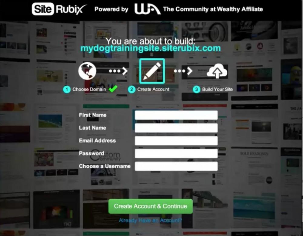 SiteRubix Website Sign Up