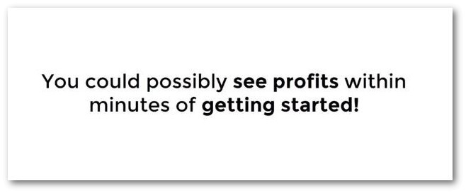 see profits within minutes of getting started